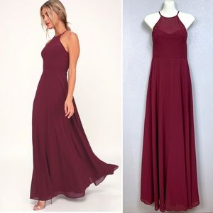 Lulus Night of Romance Burgundy Maxi Dress M